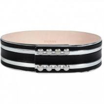 Balmain Black/Silver Striped Leather Belt