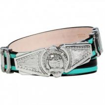 Balmain Mint/Black Striped Leather Belt with Logo Buckle