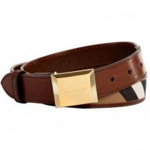 Burberry London Dark Tan Bridle House Check Henley Belt