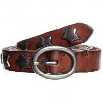Cowboysbelt Gürtel cognac mit Sternenform-Nieten