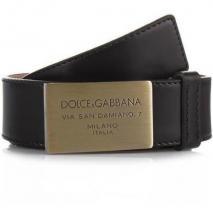 Dolce&Gabbana Cintura Asta Dritta Spazzolato Nero 100cm