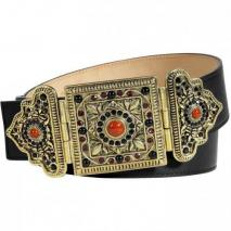 Etro Black Belt With Oriental Crystal Embellished Buckle