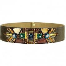 Matthew Williamson Khaki Wide Beaded Belt