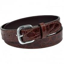 Paolo Vitale Brown Crocodile Leather Belt
