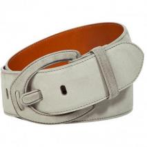 Ralph Lauren Black Chrome Suede Leather Belt