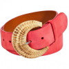 Ralph Lauren Black Coral Suede Leather Belt with Braided Buckle