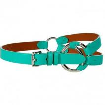 Ralph Lauren Black Turquoise Tri Strap Crescent O-Ring Belt