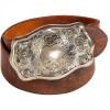 Ralph Lauren Collection Distressed Brown Engraved Plaque Buckle Belt