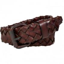 Ralph Lauren Dark Brown Burnished Leather Braided Belt