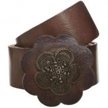 Replay Gürtel brown mit großer Blumen-Schnalle