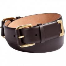 Salvatore Ferragamo Dark Brown Double-Buckle Leather Belt