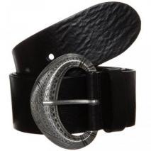 Vanzetti Gürtel black mit großer silberner Schnalle