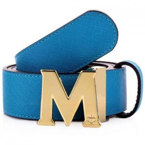 MCM Urban Styler Reversible Belt Turquise Blue