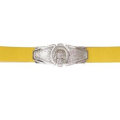 Ledergürtel mit Silberplakette von Balmain