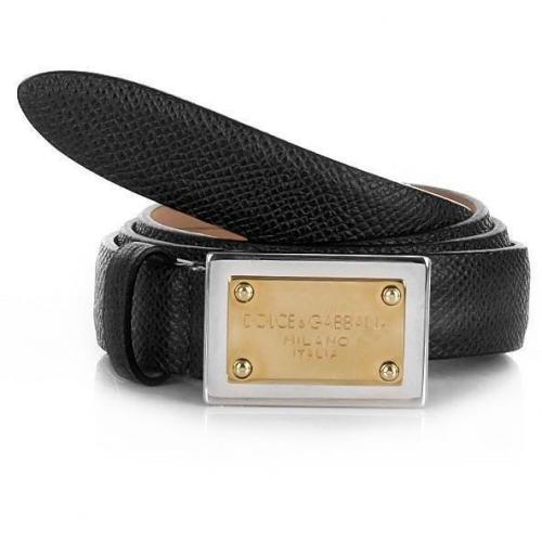 Cintura Asta Dritta Vitello Nero ST Gr.80 von Dolce&Gabbana