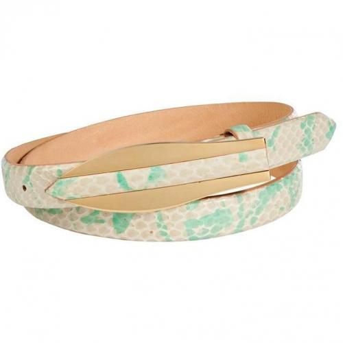 Turquoise/Nude Snakeskin/Leather Belt von Hoss Intropia