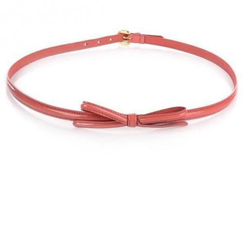 Skinny belt Schleife Koralle Lack 85 von Prada